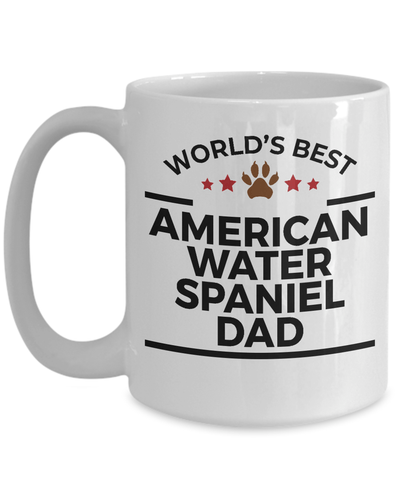 American Water Spaniel Dog Lover Gift World's Best Dad Birthday Father's Day White Ceramic Coffee Mug
