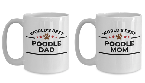 Poodle Dad and Mom Couple Mug - Set of 2 His and Hers