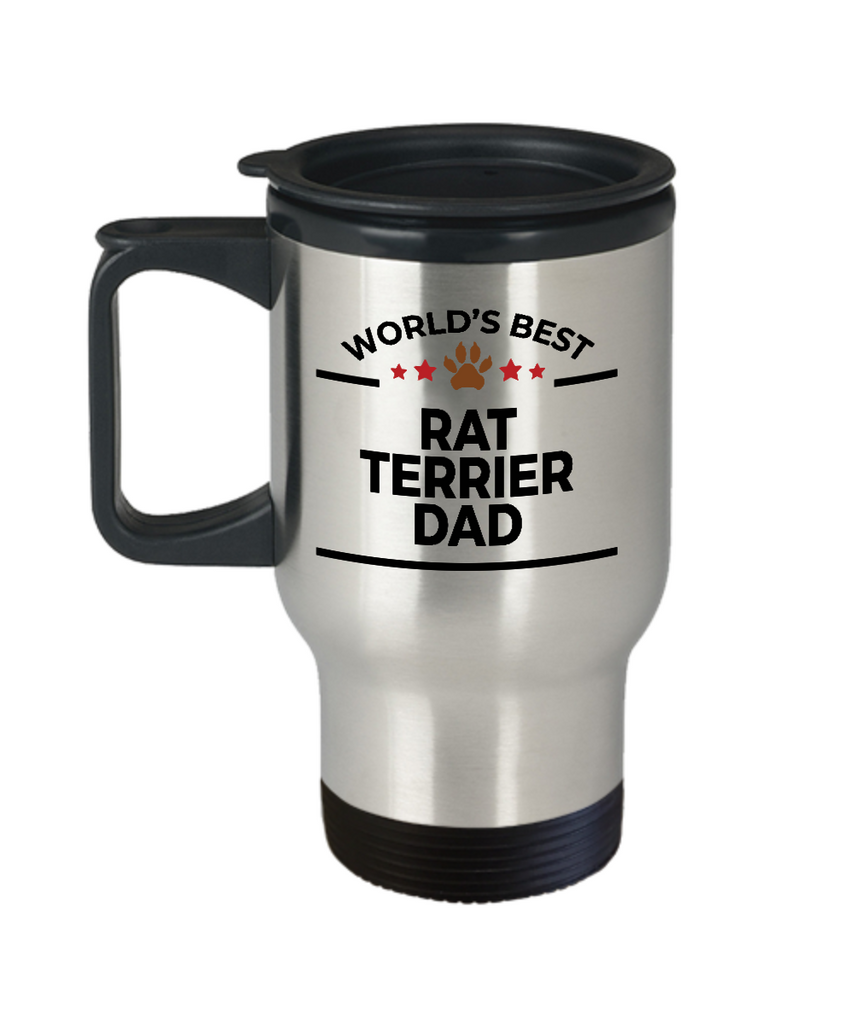 Rat Terrier Dog Lover Gift World's Best Dad Birthday Father's Day Stainless Steel Insulated Travel Coffee Mug