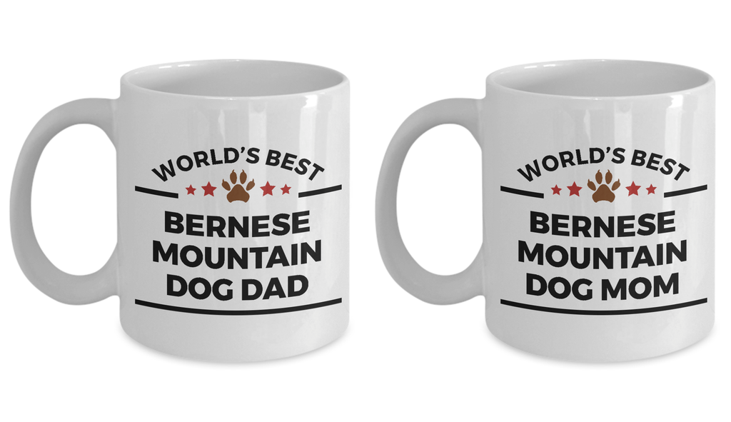 Bernese Mountain Dog Lover Gift World's Best Dad Mom Mother's Father's Day Birthday Coffee Mug Set of 2