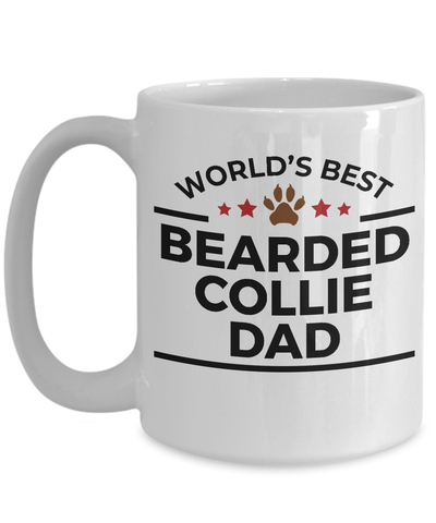 Bearded Collie Dog Lover Gift World's Best Dad Birthday Father's Day White Ceramic Coffee Mug