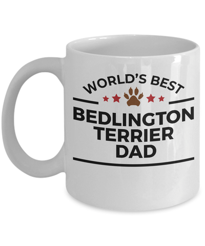 Bedlington Terrier Dog Lover Gift World's Best Dad Birthday Father's Day White Ceramic Coffee Mug