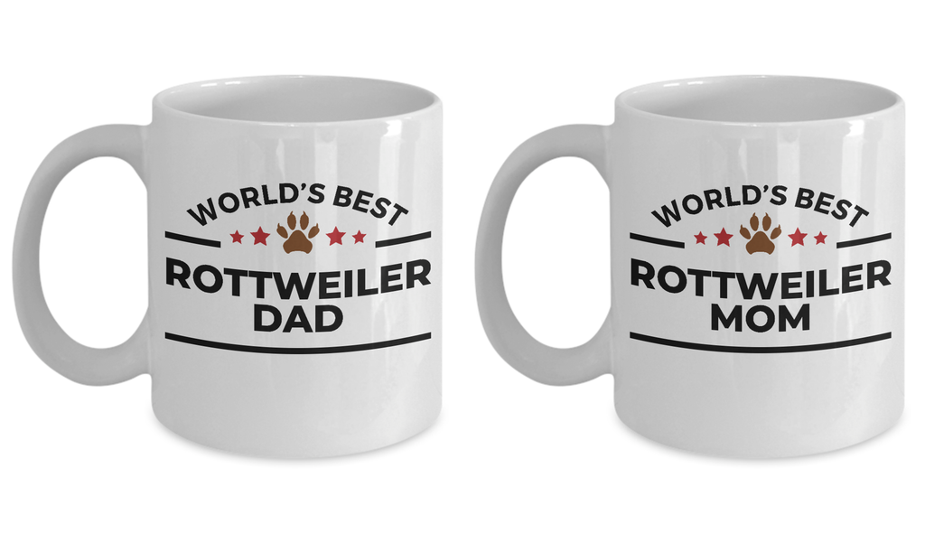 World's Best Rottweiler Dad and Mom Ceramic Mugs - Set of 2 His and Hers
