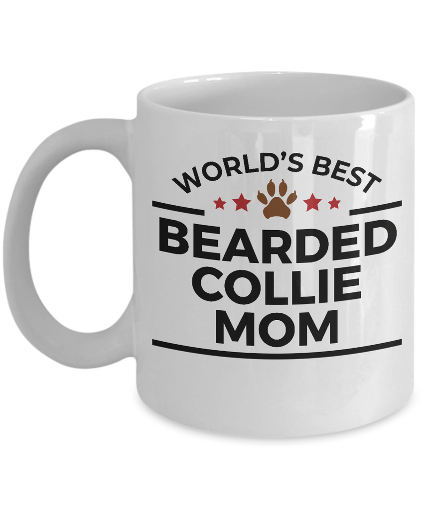 Bearded Collie Dog Lover Gift World's Best Mom Birthday Mother's Day White Ceramic Coffee Mug