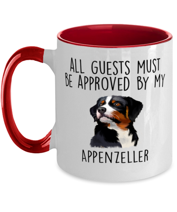 Funny Appenzeller Sennenhund -Guests must be approved Two Tone Red and White Coffee Mug