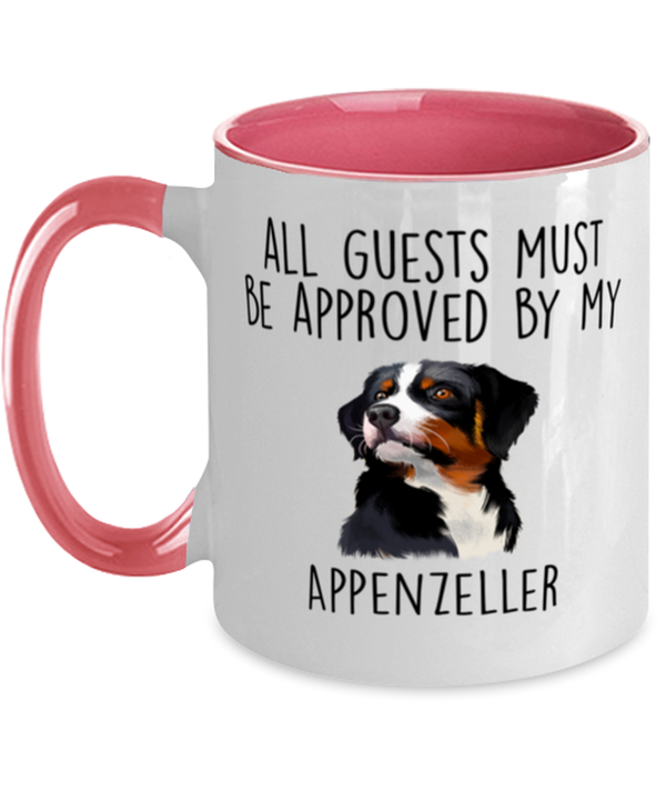 Funny Appenzeller Sennenhund -Guests must be approved Two Tone Pink and White Coffee Mug
