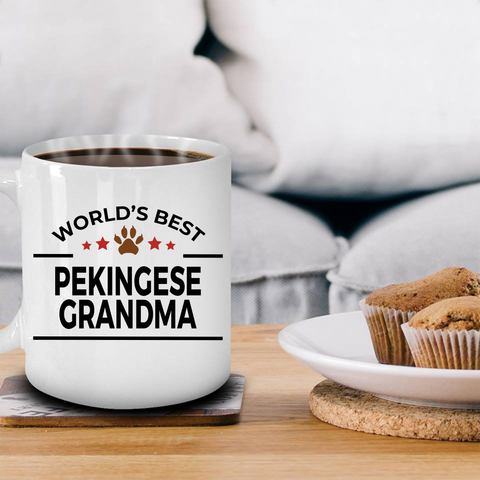 Pekingese Dog Lover Gift World's Best Grandma Birthday Mother's Day White Ceramic Coffee Mug