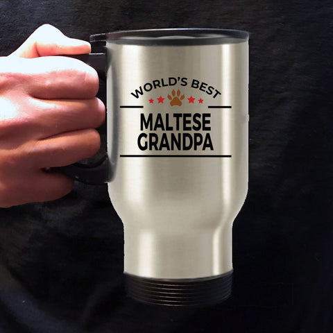 Maltese Dog Grandpa Travel Coffee Mug