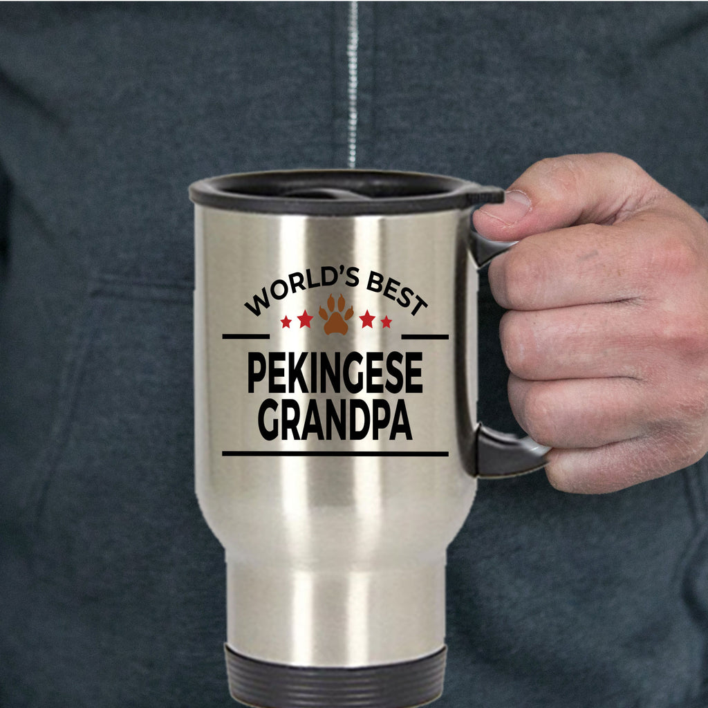 Pekingese Dog Lover Gift World's Best Grandpa Birthday Father's Day Stainless Steel Insulated Travel Coffee Mug