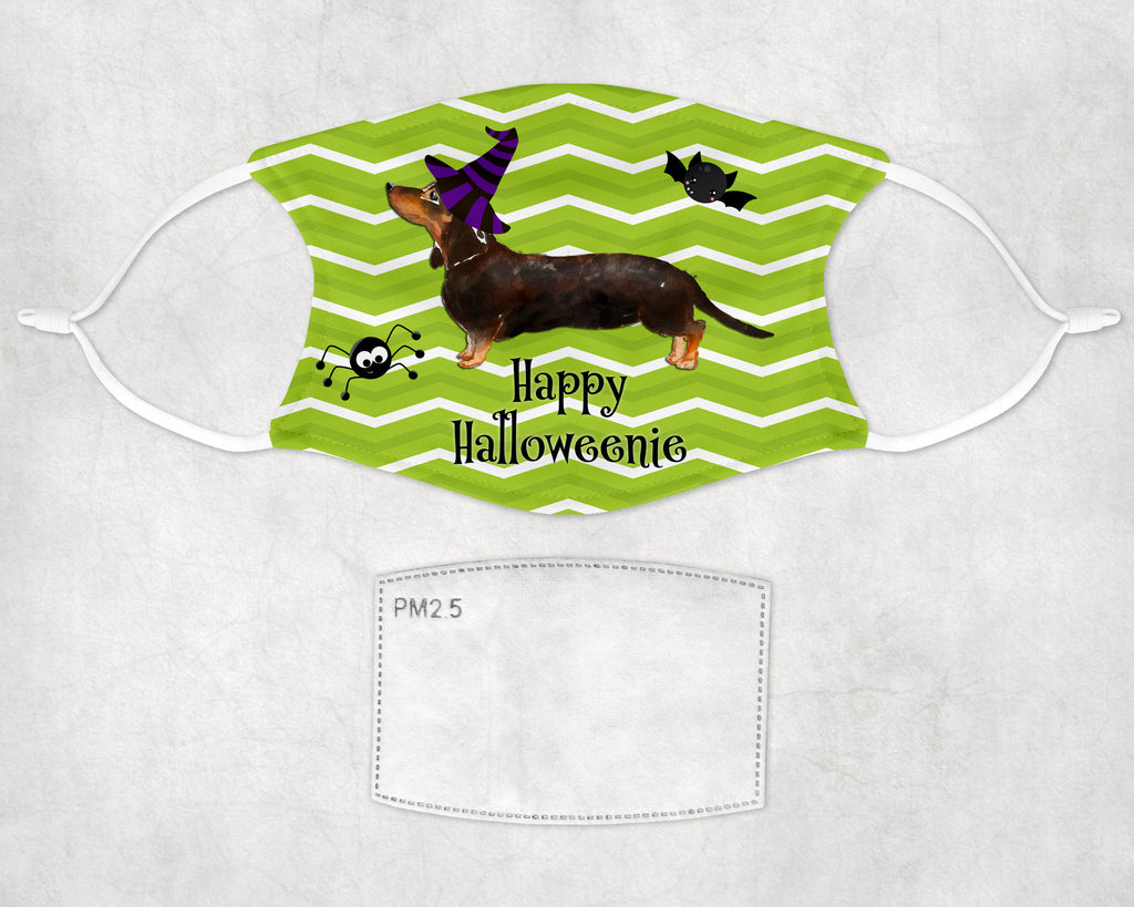 Happy Halloweenie Dachshund Face Mask Child and Adult Sizes Made in USA