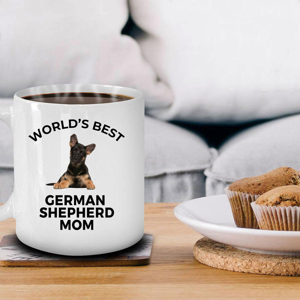 German Shepherd Puppy Dog Lover Gift World's Best Mom Birthday Mother's Day White Ceramic Coffee Mug