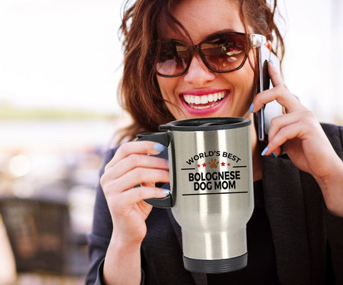 Bolognese Dog Lover Gift World's Best Mom Birthday Mother's Day Stainless Steel Insulated Travel Coffee Mug