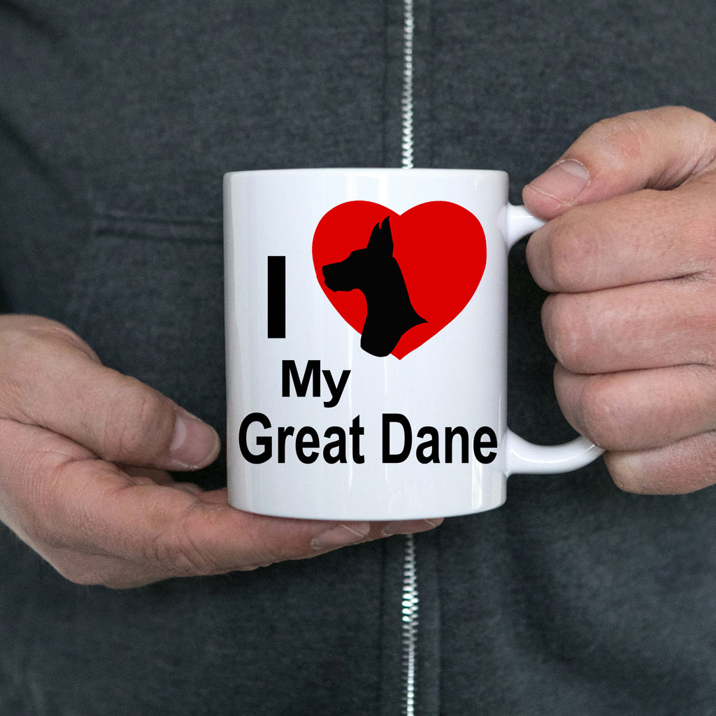Love my Great Dane Dog White Ceramic Coffee Mug
