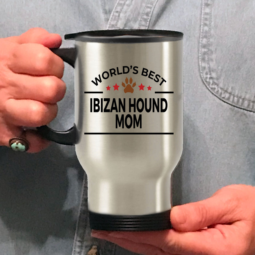 Ibizan Hound Dog Lover Gift World's Best Mom Birthday Mother's Day Stainless Steel Insulated Travel Coffee Mug