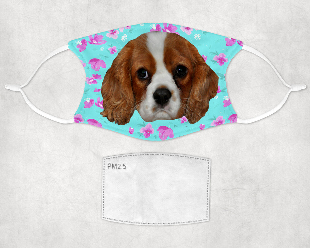 Cavalier King Charles Spaniel Puppy Face Masks in Child and Adullt Sizes Made in USA