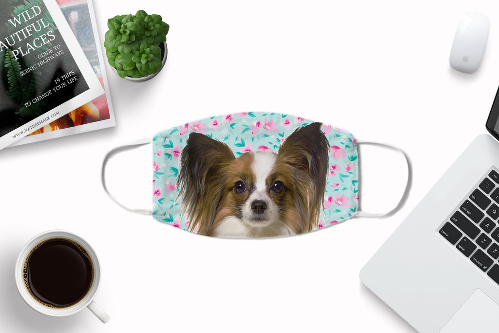 Papillon Dog Face Mask Washable Reusable Sublimation Printed Fabric Face Cover Art