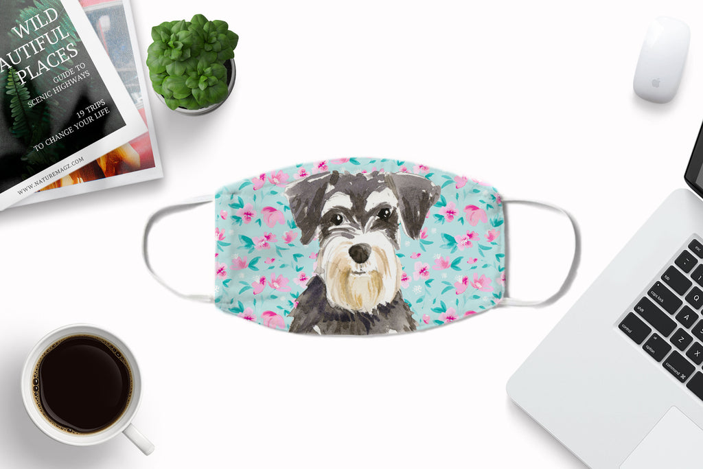 Miniature Schnauzer Watercolor printed fabric face cover art