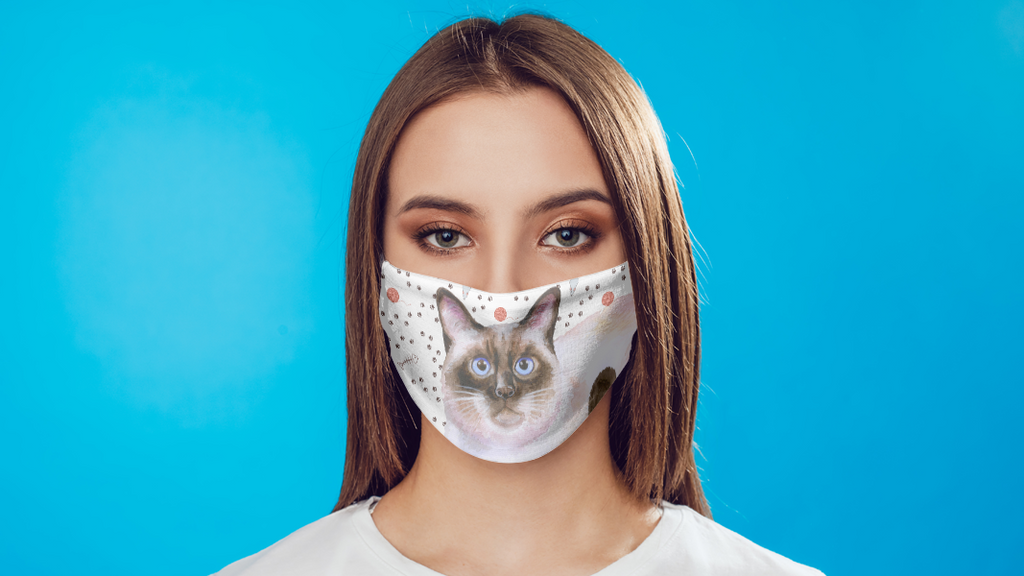 Siamese Cat Face Mask watercolor printed fabric with carbon filter
