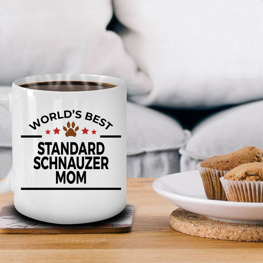 Standard Schnauzer Dog Lover Gift World's Best Mom Birthday Mother's Day White Ceramic Coffee Mug