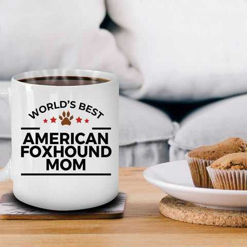 American Foxhound Dog Lover Gift World's Best Mom Birthday Mother's Day White Ceramic Coffee Mug