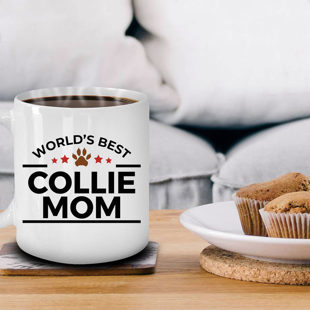 Collie Dog Lover Gift World's Best Mom Birthday Mother's Day White Ceramic Coffee Mug