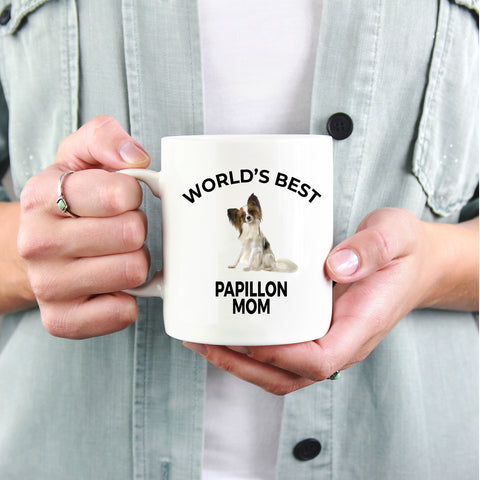 Papillon Dog Lover Gift World's Best Mom Birthday Mother's Day Present White Ceramic Coffee Mug