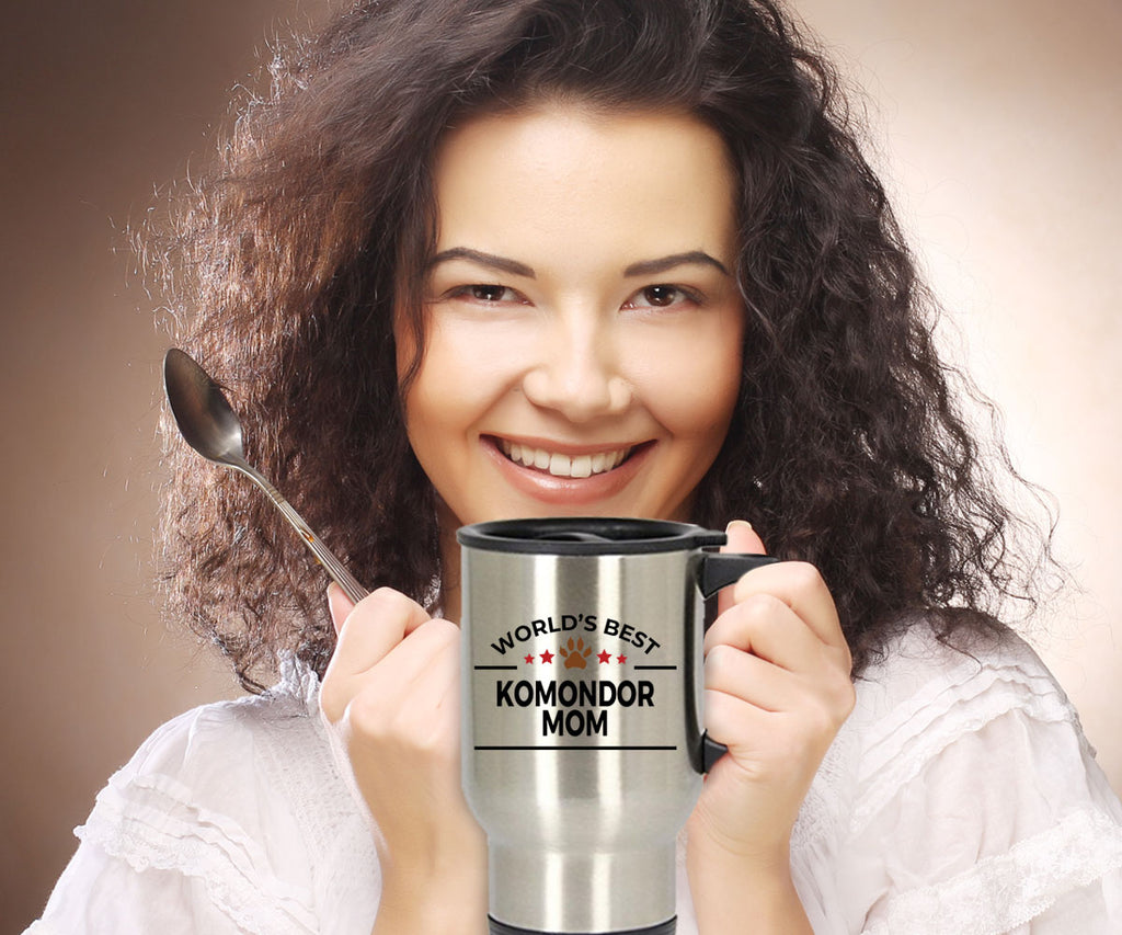Komondor Dog Lover Gift World's Best Mom Birthday Mother's Day Stainless Steel Insulated Travel Coffee Mug