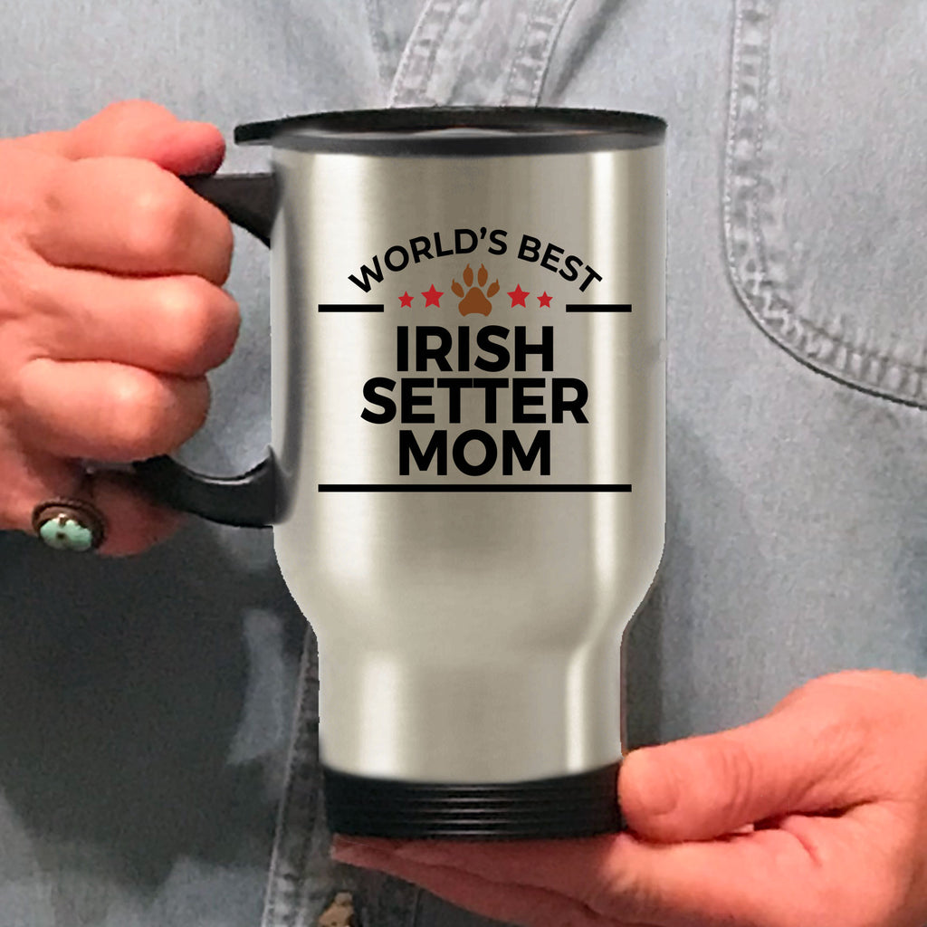 Irish Setter Dog Lover Gift World's Best Mom Birthday Mother's Day Stainless Steel Insulated Travel Coffee Mug