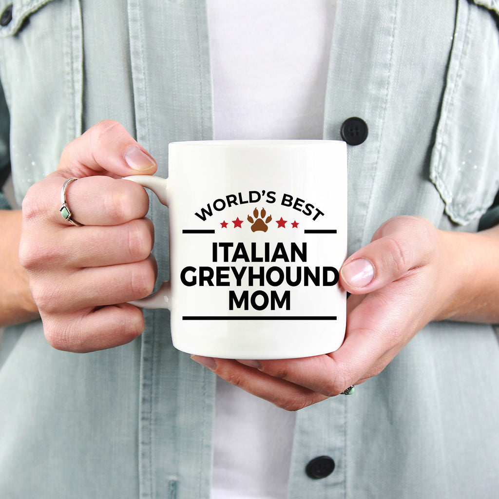 Italian Greyhound Dog Lover Gift World's Best Mom Birthday Mother's Day White Ceramic Coffee Mug