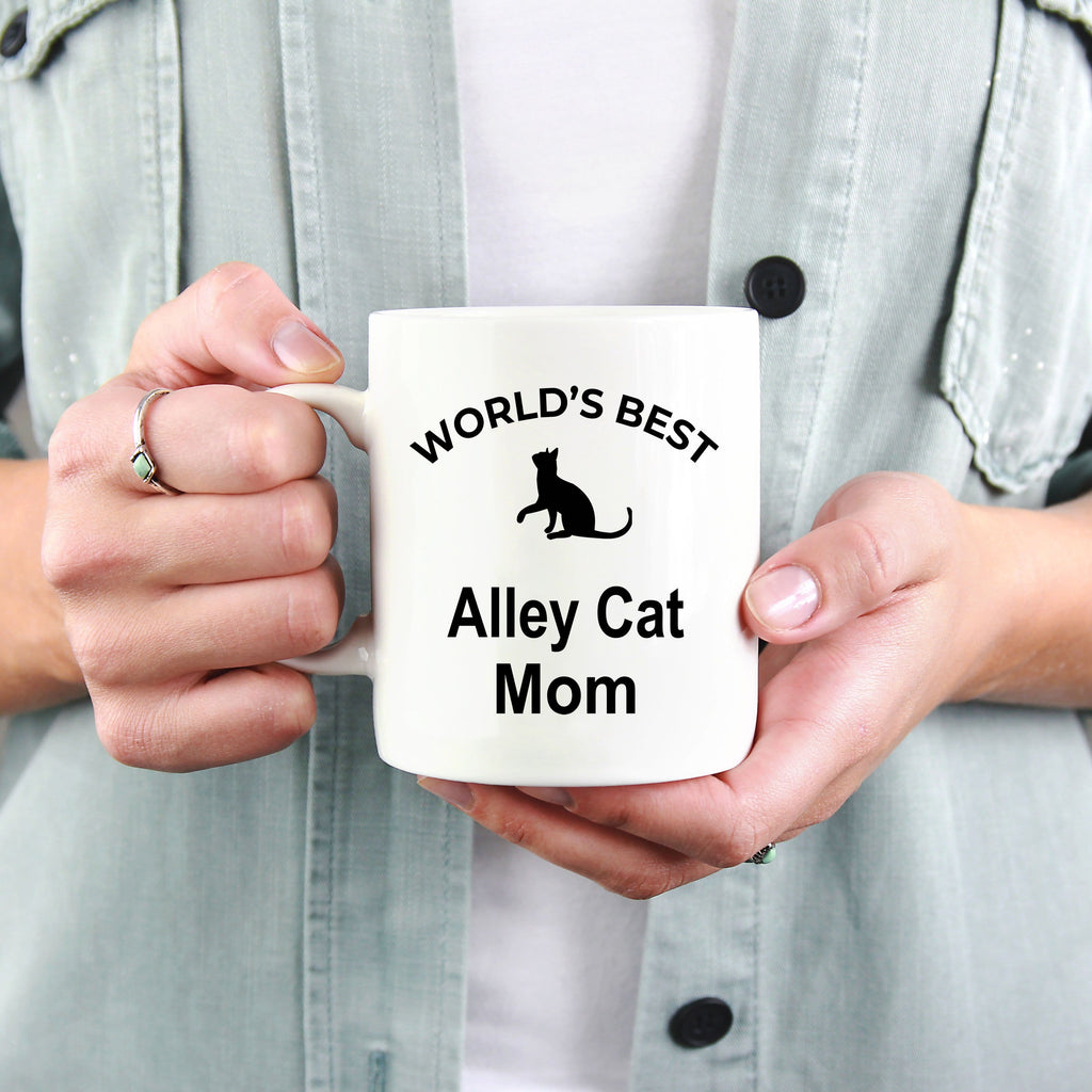 Alley Cat Lover Gift World's Best Mom Birthday Mother's Day White Ceramic Coffee Mug