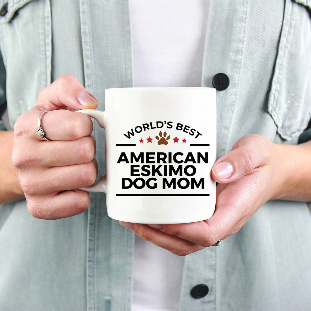 American Eskimo Dog Owner Lover World's Best Mom White Ceramic Coffee Mug