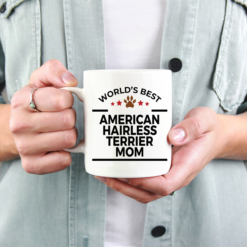 American Hairless Terrier Dog Lover Gift World's Best Mom Birthday Mother's Day White Ceramic Coffee Mug
