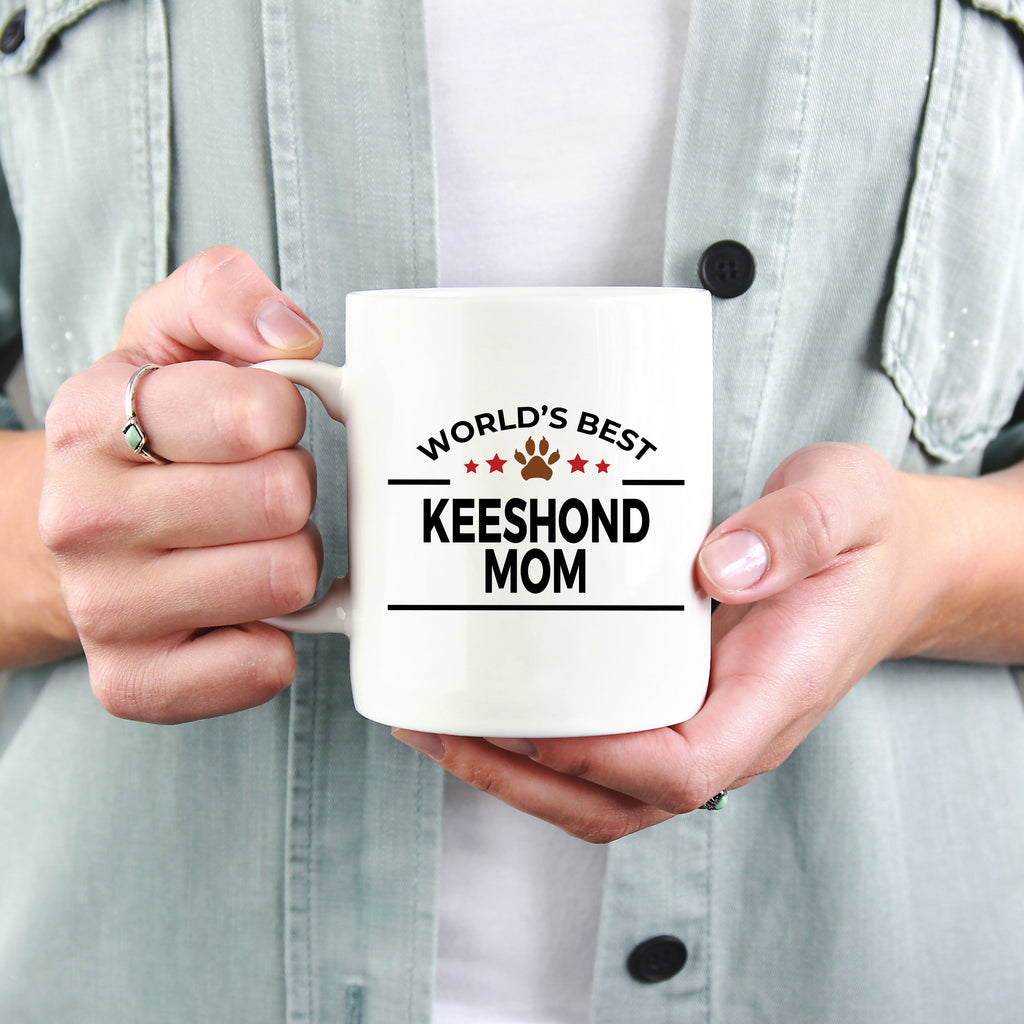 Keeshond Dog Lover Gift World's Best Mom Birthday Mother's Day White Ceramic Coffee Mug