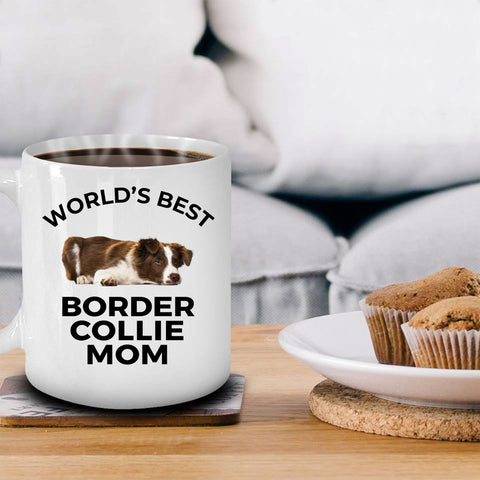 Border Collie Puppy Dog Lover World's Best Mom White Ceramic Coffee Mug