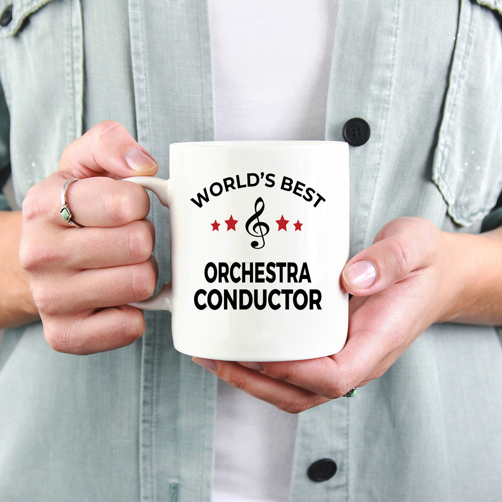 Orchestra Conductor Gift World's Best Birthday Appreciation Thank-you Present White Ceramic Novelty Coffee Tea Mug