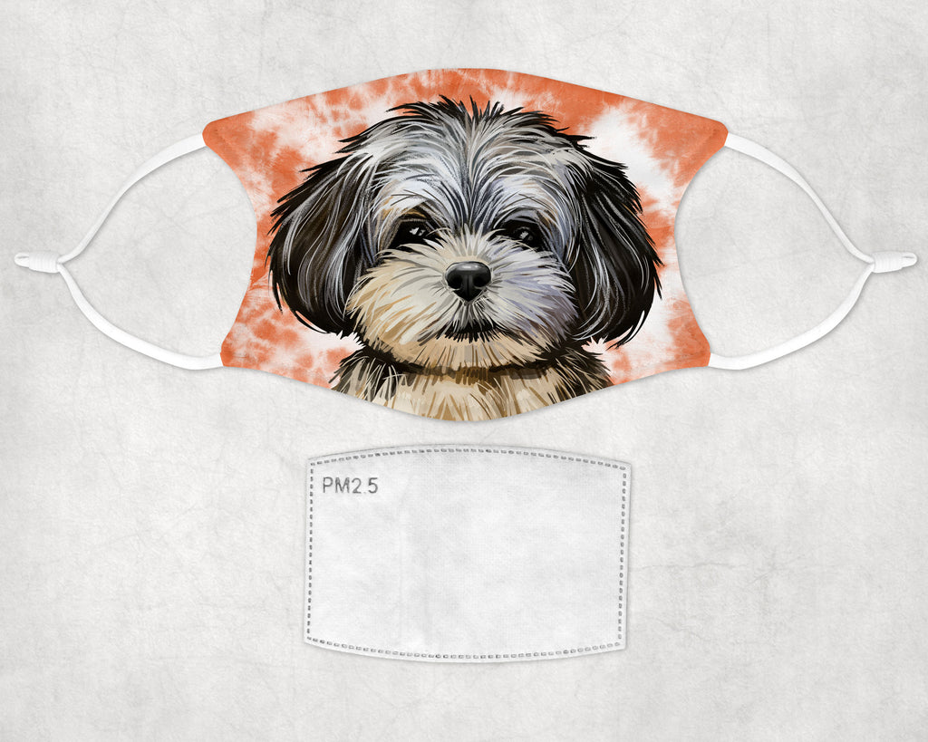 Peekapoo puppy Tie dyed non-medical face mask sublimated printed in the USA