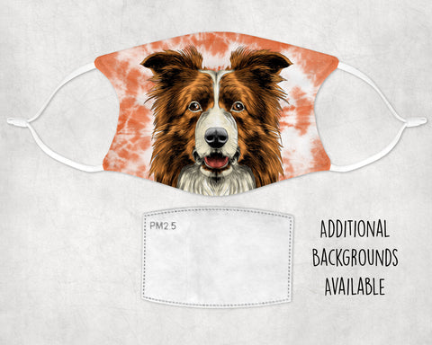 Brown Border Collie Tie-dyed Face Masks Made in USA
