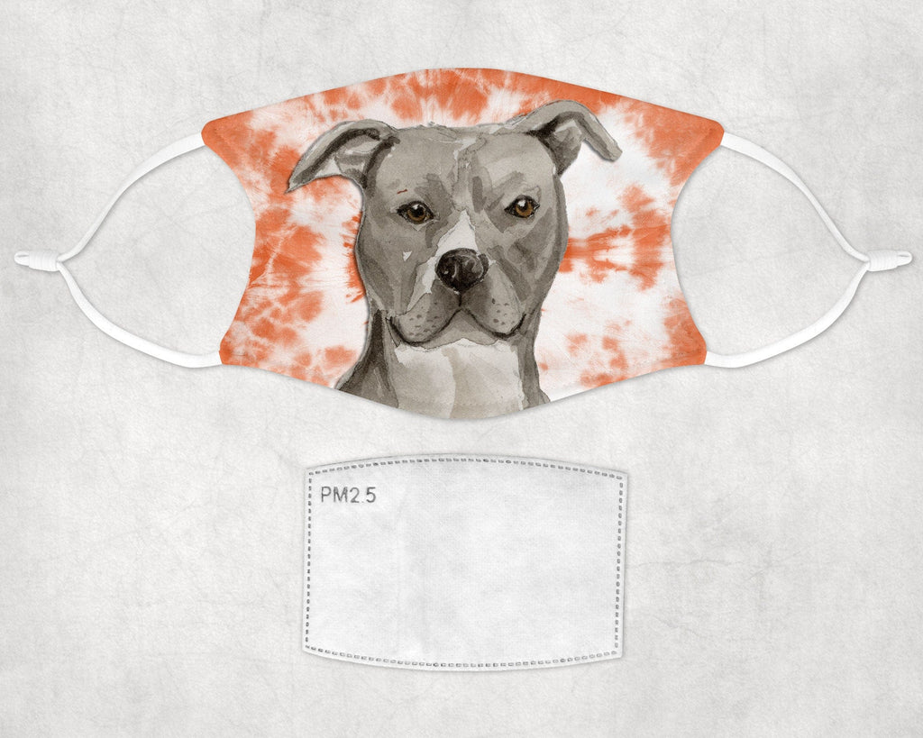 American Staffordshire Terrier - Pit Bull -Tie Dye Face Mask - Made in USA