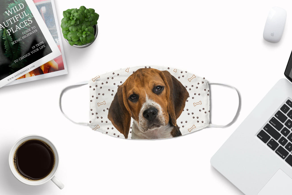 Beagle Puppy Face Cover - Washable and Reusable Face Art