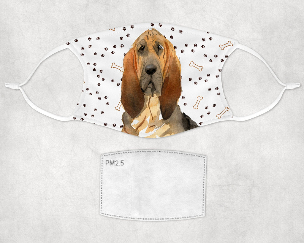 Bloodhound Face Mask Child and Adult sizes made in USA watercolor printed dog face cover art