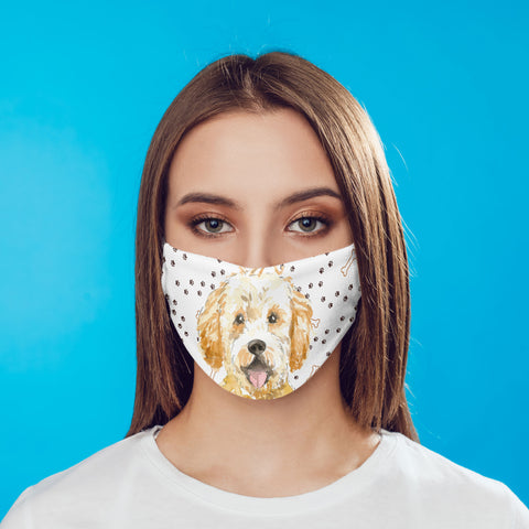 Goldendoodle Dog Face Mask Reusable Washable Removable Carbon Filter Ear Loops