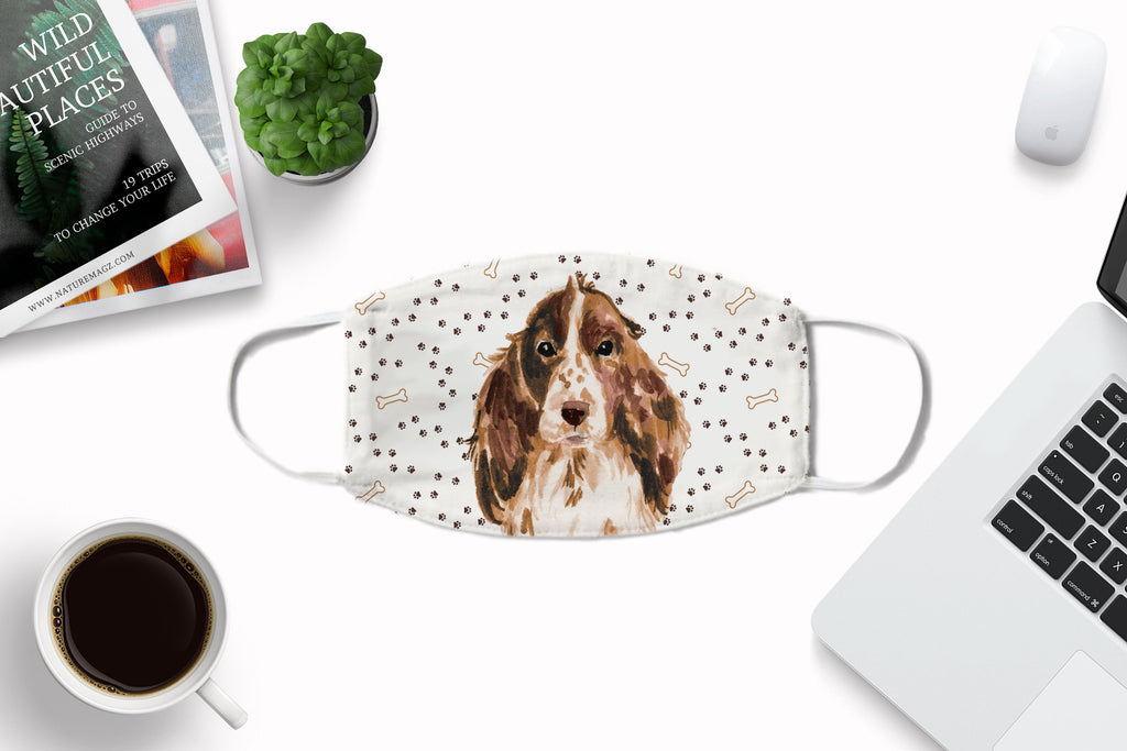 Cocker Spaniel watercolor printed Face Mask - washable, comfortable with carbon filter