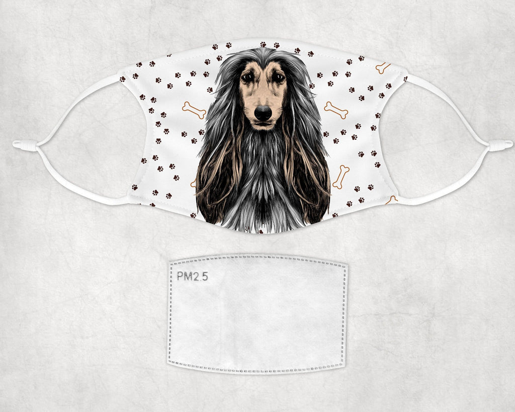 Afghan Hound Fabric Child Size Face Cover Art Washable Reusable - Made in USA