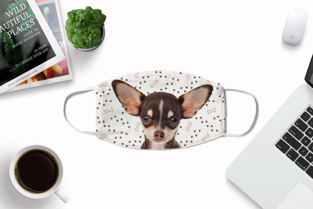Chihuahua puppy Face Mask Washable Reusable Sublimation Printed Fabric Face Cover Art