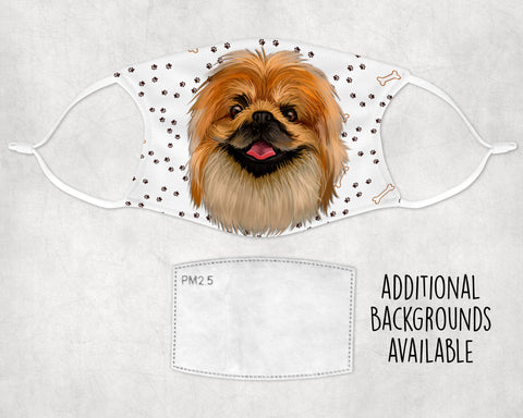 Pekingese Dog Watercolor print Sublimation non-medical Face Mask Made in USA