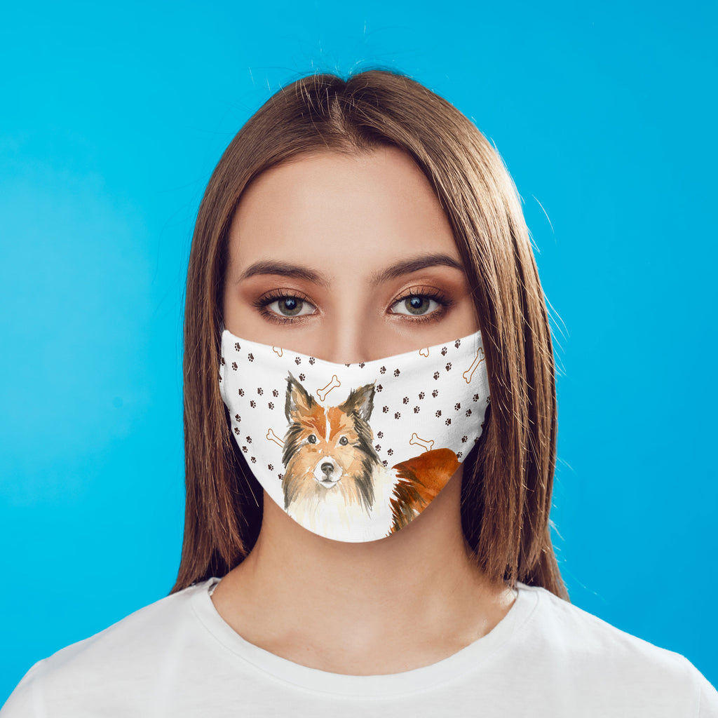 Shetland Sheepdog Face Mask Comfortable Washable