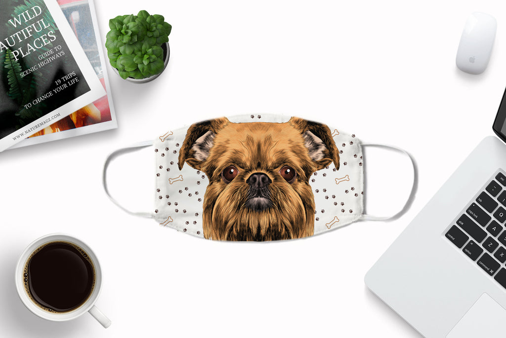 Brussels Griffon Watercolor Face Mask Washable Reusable Sublimation Printed Fabric Face Cover Art