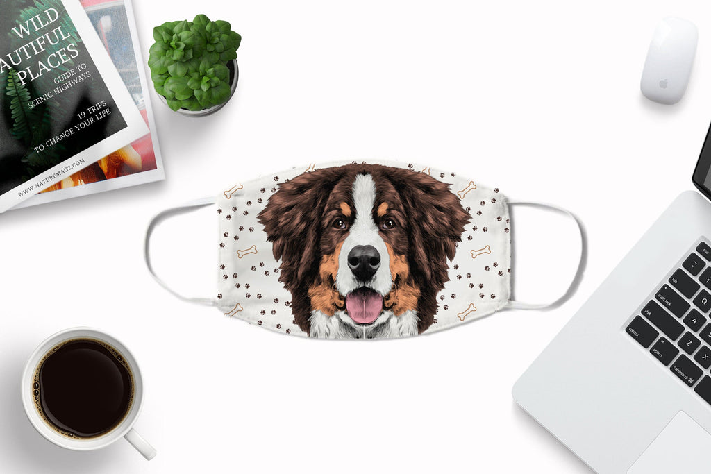 Bernese Mountain Dog Fabric non-medical Face Mask Washable Reusable Sublimation Printed Face Cover Art