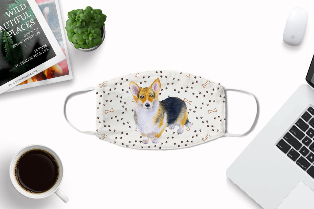 Pembroke Welsh Corgi Dog Watercolor printed Face Mask Cover Art - washable with pocket