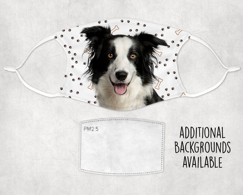 Border Collie Dog Face Mask Child Adult Washable Comfortable Adjustable Earloops Made in USA